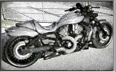 Two Wheeler Digital Art - Hardecore Riding by Danielle  Parent