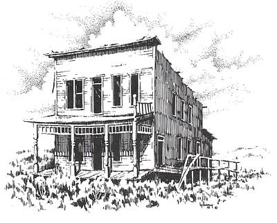 Abandoned Building Drawing - Hardesty Hotel Rochester Ghost Town Montana by Kevin Heaney
