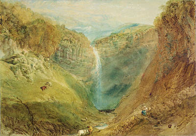 Waterfalls Drawing - Hardraw Fall, Yorkshire, C.1820 by Joseph Mallord William Turner