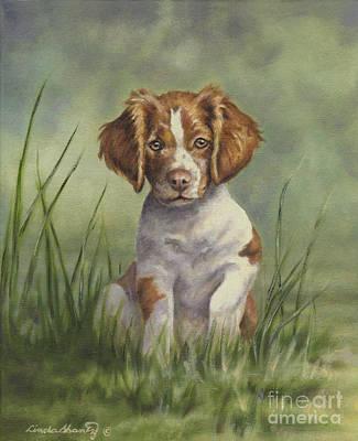Spaniel Puppy Painting - Hardwired by Linda Shantz
