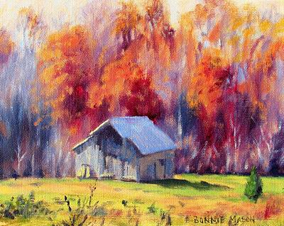 Old Barn Painting - Hardy Road Barn- In Autumn by Bonnie Mason