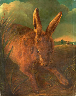 Hare Hunting A Rabbit With Hunter And Dog In The Background Print by Litz Collection