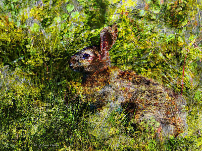 Print featuring the digital art Hare In Hiding by J Larry Walker