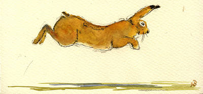 Hare Jumping Art Print by Juan  Bosco