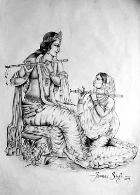 Drawing - Hare Krishna by Tanmay Singh