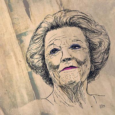 Briex Digital Art - Hare Majesteit Koningin Beatrix by Nop Briex