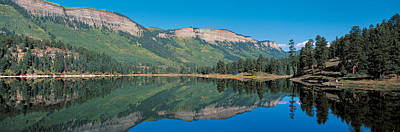 Conifer Tree Photograph - Hariland Lake & Hermosa Cliffs Durango by Panoramic Images
