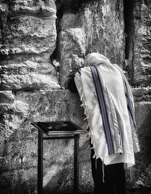 Photograph - Harken Unto My Prayer O Lord Western Wall Jerusalem Bw by Mark Fuller