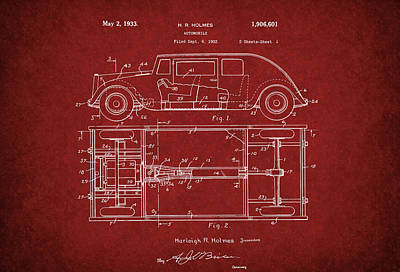 Harleigh Holmes Automobile Patent From 1932 Art Print by Doc Braham