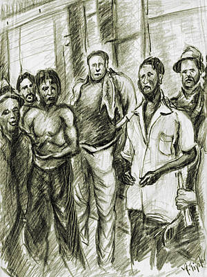 Drawing - Harlem Guys - New York Art by Peter Potter
