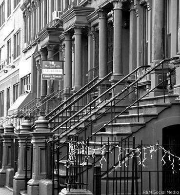 Harlem Ny Photograph - Harlem Brownstones Bw  by Marvin Washington
