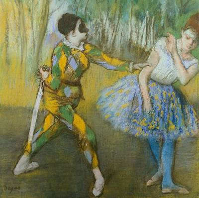 Degas Pastel - Harlequin And Columbine by Edgar Degas