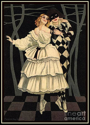 Artful And Whimsical Digital Art - Harlequin And His Lady Love Ballet Dancing Pair by Pierpont Bay Archives