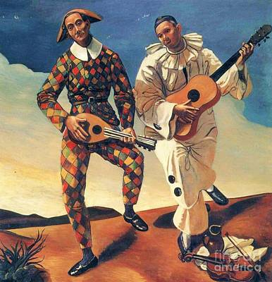 Pierrot Painting - Harlequin And Pierrot by Pg Reproductions