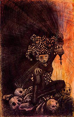 Juggling Drawing - Hermetic Fool by Kd Neeley