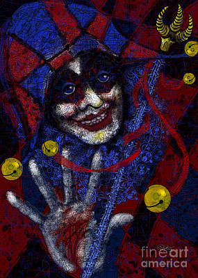 Digital Art - Harlequin In Red And Blue by Carol Jacobs