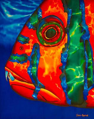 Shower Curtain Painting - Harlequin Tusk Fish by Daniel Jean-Baptiste