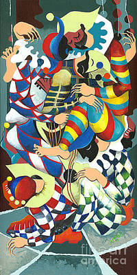 Philosophical Painting - Harlequins Acting Weird - Why?... by Elisabeta Hermann