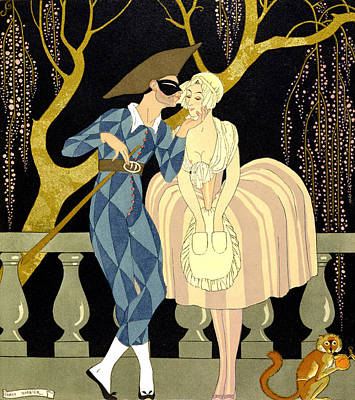 Couples Painting - Harlequin's Kiss by Georges Barbier