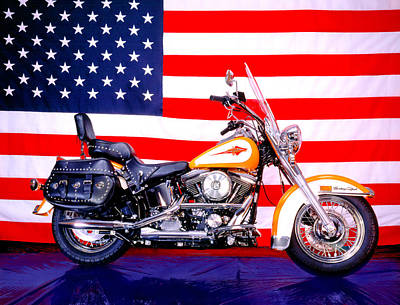 Photograph - Harley And Us Flag by Gary De Capua