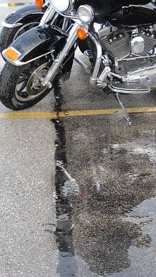 Photograph - Harley Close-up Rain Reflections Tall by Anita Burgermeister