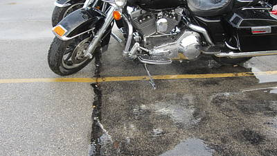 Photograph - Harley Close-up Rain Reflections Wide by Anita Burgermeister