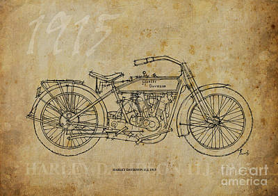 Bike Drawing - Harley Davidson 11j 1915 by Pablo Franchi