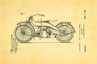 Harley Davidson 1919 Twin Cylinder Model Patent Art  Print by Ian Monk