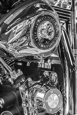 Little Mosters - Harley Davidson 96 Cubic Engine Black and White by John McGraw