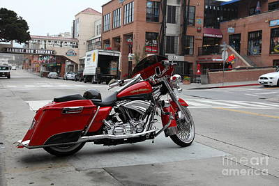 Monterey Bay Aquarium Photograph - Harley Davidson At Monterey Cannery Row California 5d24765 by Wingsdomain Art and Photography