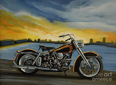 Motorcycle Wall Art - Painting - Harley Davidson Duo Glide by Paul Meijering