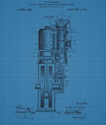Harley Davidson Engine Blueprint Art Print by Dan Sproul
