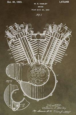 Harley Davidson Engine Art Print by Dan Sproul