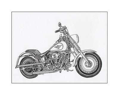 Drawing - 1936 Harley Davidson Fat Boy by Jack Pumphrey