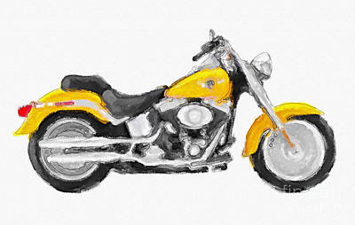 Harley Davidson Flstc Fat Boy Yellow Hand Painted Original