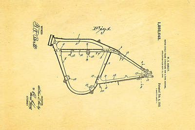 Harley Davidson Frame For V Type Motors Patent Art 1919 Print by Ian Monk