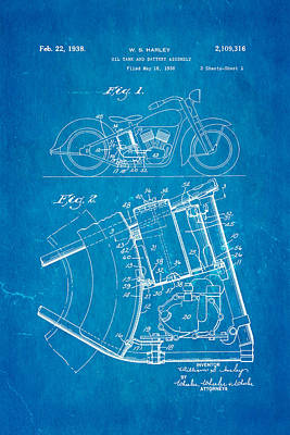 Harley Davidson Horseshoe Oil Tank Patent Art 1938 Blueprint Print by Ian Monk