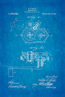 Harley Davidson Kick Starter Patent Art 1916 Blueprint Art Print by Ian Monk