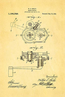 Harley Davidson Kick Starter Patent Art 1916 Art Print by Ian Monk