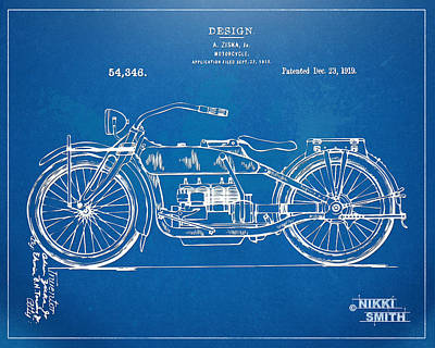 Drawing - Harley-davidson Motorcycle 1919 Patent Artwork by Nikki Marie Smith