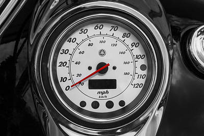 Harley Davidson Motorcycle Speedometer Harley Bike Bw  Art Print by Rich Franco
