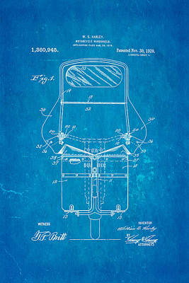 Harley Davidson Motorcycle Windshield Patent Art 1920 Blueprint Print by Ian Monk