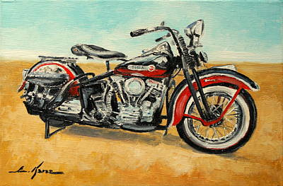 Harley Davidson Panhead Art Print