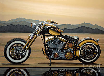 Reflections Painting - Harley Davidson by Paul Meijering