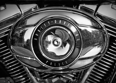 Harley-davidson Police B And W Art Print by Cricket Hackmann