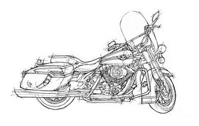 Drawing - Harley Davidson Road King by Pablo Franchi