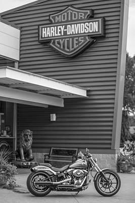 Photograph - Harley Davidson Sign And Bike  by John McGraw