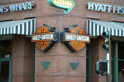 Photograph - Harley Davidson Sign Fisherman's Wharf by Christopher Winkler