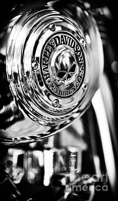 Shine Photograph - Harley Davidson Skull Casing by Tim Gainey