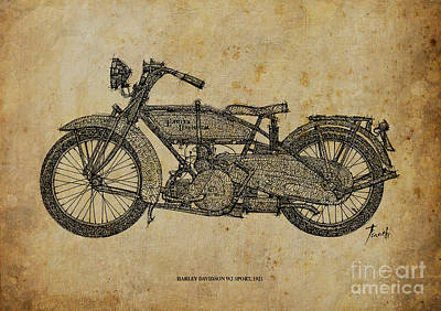 Bike Drawing - Harley Davidson Wj Sport - 1921 by Pablo Franchi